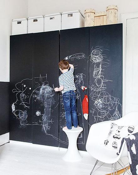 趣味又实用的黑板墙,涂涂写写一样美。_9