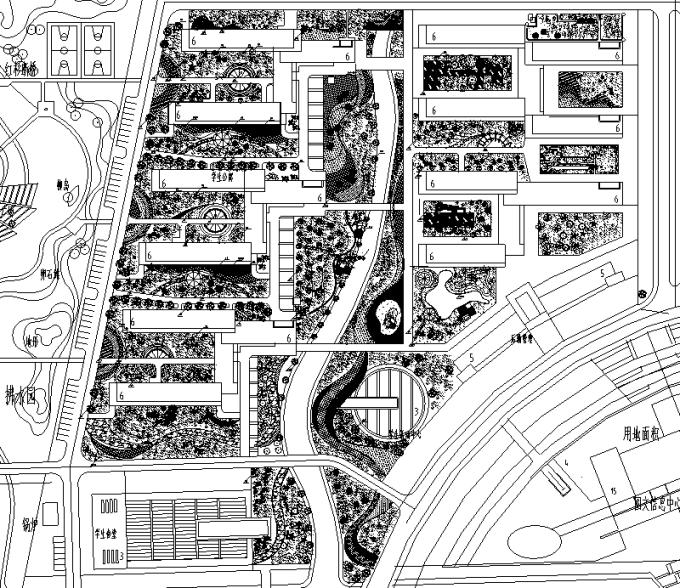 [合集]校园绿地景观规划设计CAD平面图41套-校园中心区景观规划平面图