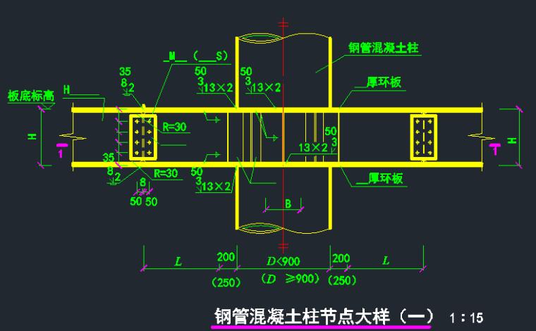 钢管混凝土柱节点大样图