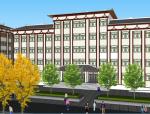 中式风格学校教学楼建筑设计方案SU模型