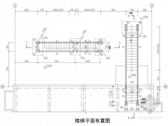 室外直跑钢楼梯节点构造详图