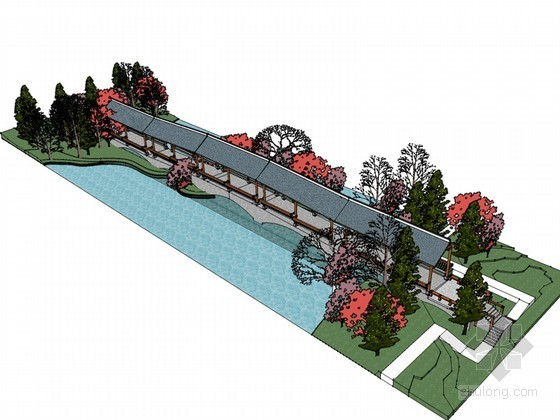 景观长廊SketchUp模型下载