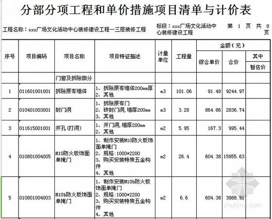 [广东]2015年广场文化活动中心装修工程预算书(附施工图纸)-01分部分项工程和单价措施项目清单与计价表(装修)