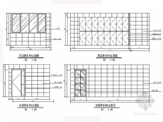 [沈阳]现代自然惬意楼盘物业办公室设计装修图(含效果)更衣间立面图