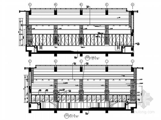 [重庆]豪华低密度住宅区高档休闲会所装修施工图游泳池立面图