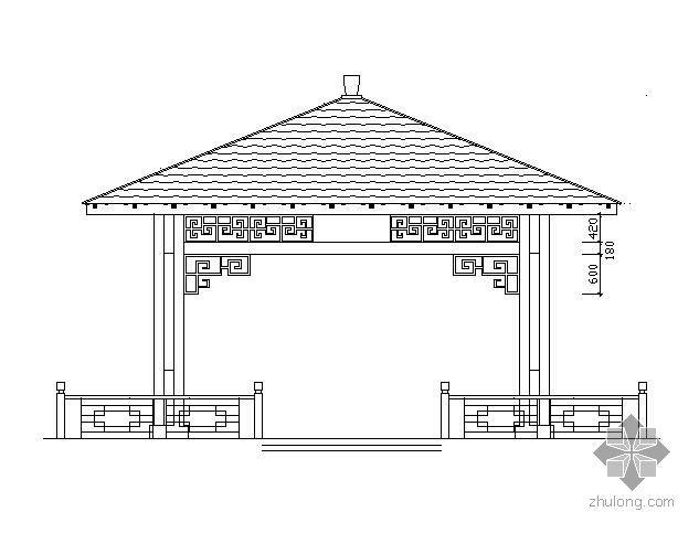 六米跨四角木方亭施工图