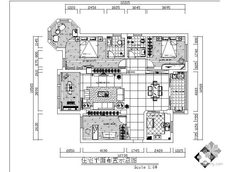现代简约三室两厅黑白经典施工图(含效果)