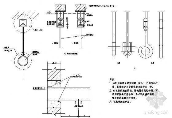应急柴油发电机组安装之排烟管、消声器吊架安装图