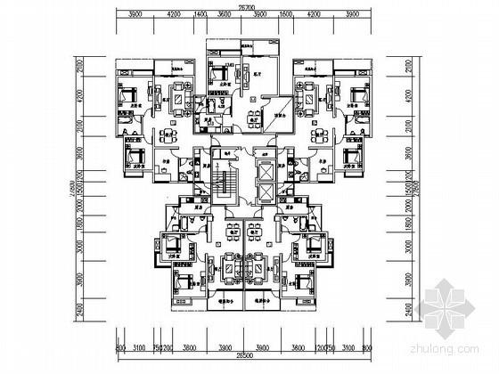 高层住宅一梯五户型平面图(109、86、75平方米)