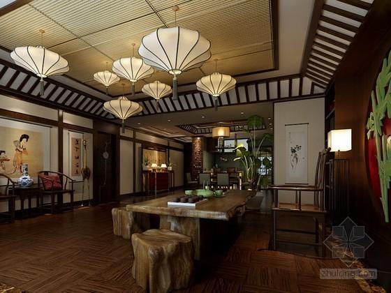 古色古香的中式风格茶室3d模型下载