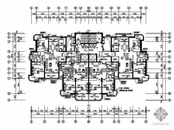 一梯四塔式高层户型平面图(110/90)