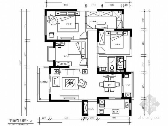 [江苏]浪漫温馨128平简约美式风格三居室装修室内设计施工图(含效果)