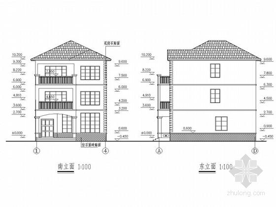 三层砖混结构别墅建筑及结构图(300平米)