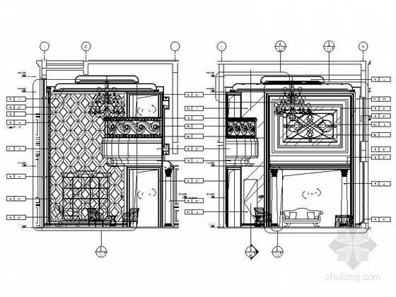 奢华欧式别墅客厅立面图