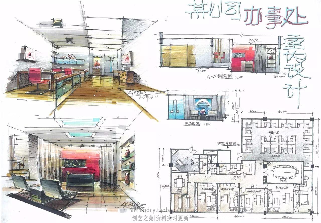 [室内快题设计]工作室,办公空间高清手绘图图片