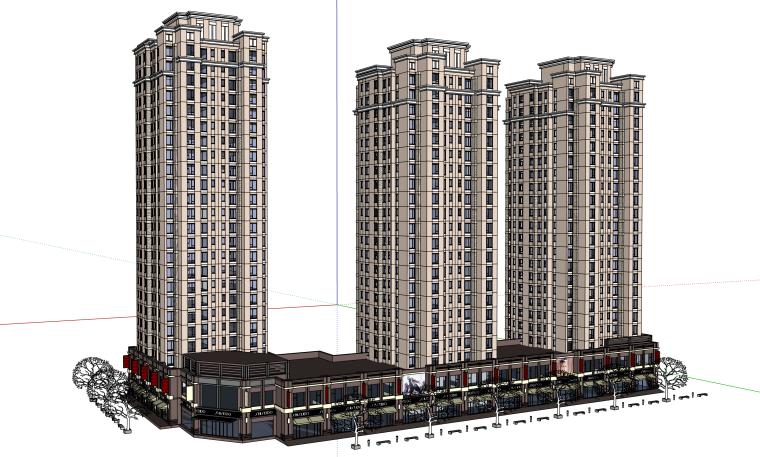 高层豪华小区建筑设计模型