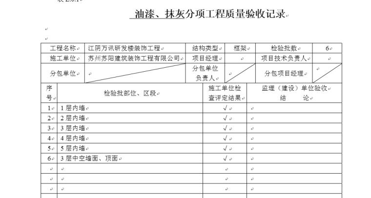 室内装饰装修项目检验批质量验收记录表格