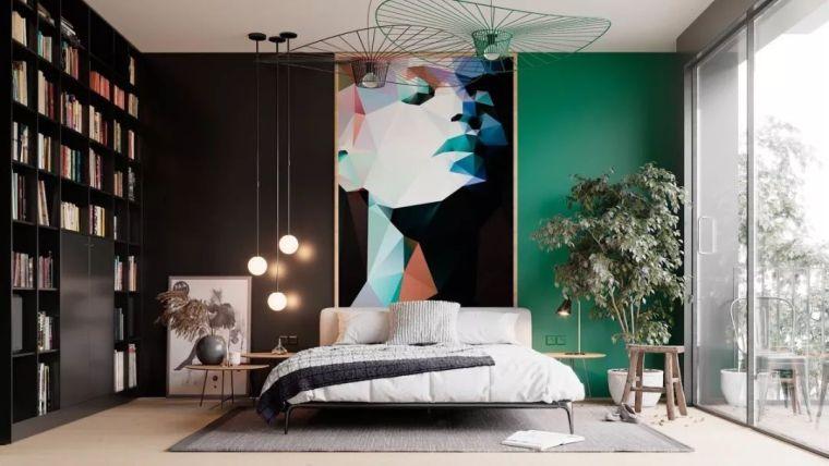 卧室背景墙花点心思,果然比大白墙美!