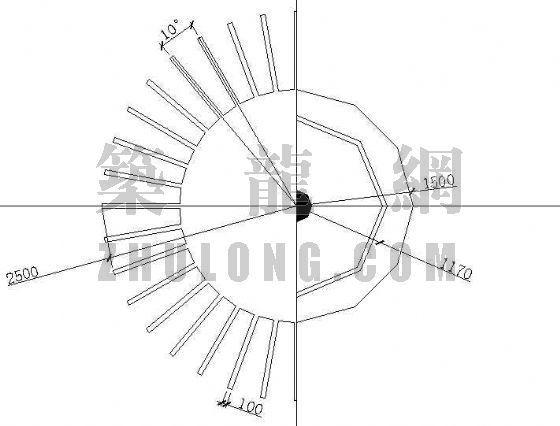 圆形单柱带座花架施工图