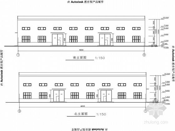 [青岛]单层门式刚架结构工贸公司产房建筑及结构图