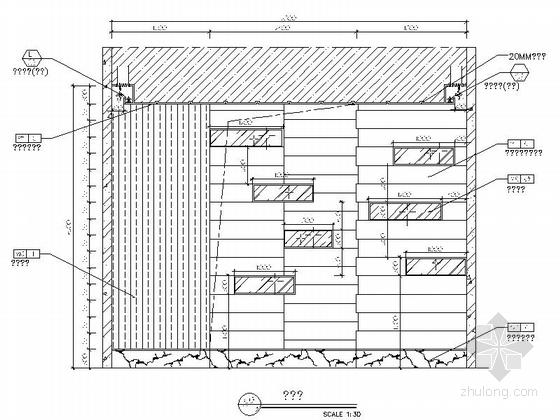 [广东]酒店夜总会时尚现代KTV包间装修施工图(含效果)立面图