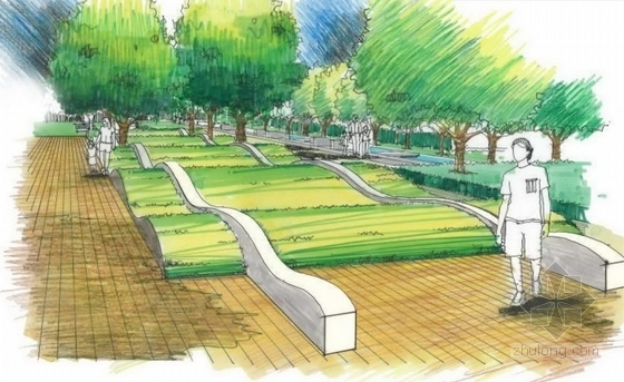 """[广东]""""编织""""主题社区道路及周围绿化景观设计方案(知名设计所双语)-景观效果图"""