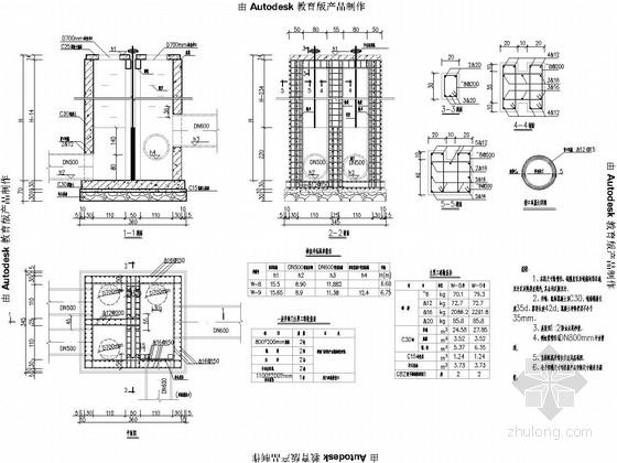 倒虹管闸槽井构造及盖板配筋图