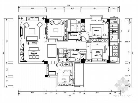 [温州]美式田园三室两厅室内装修图(含实景)