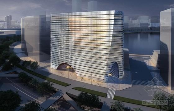 [深圳]60米现代风格玻璃幕墙办公楼设计方案文本