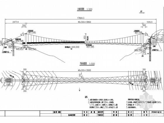 双塔单跨悬索人行桥施工图设计(主跨138m)