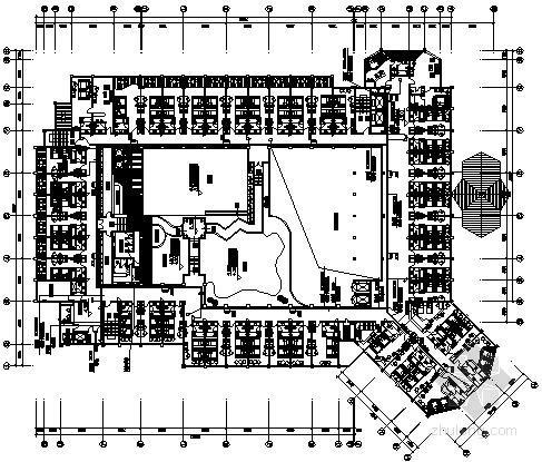 五层四星级酒店弱电系统平面图