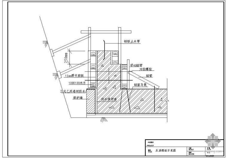 某基础反梁模板示意节点构造详图(一)