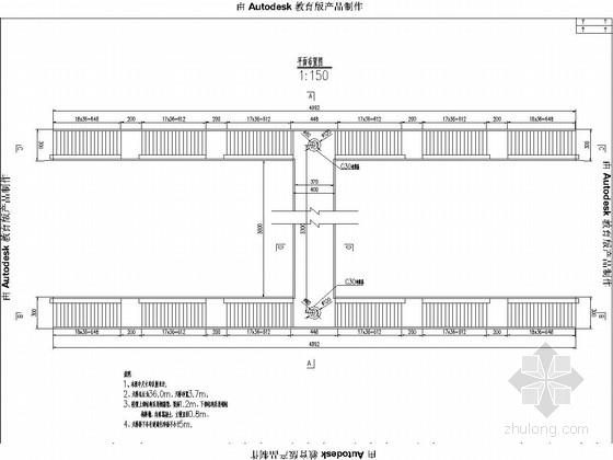 钢箱梁结构人行天桥施工图纸成套(玻璃栏杆)