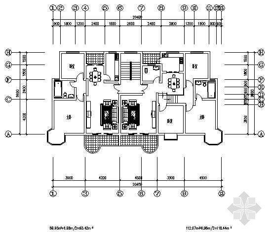 两室两厅一厨一卫93平米+三室两厅一厨一卫116平米