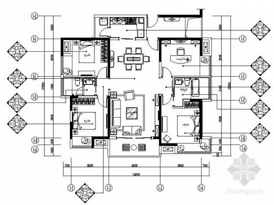 [浙江]古典四居室户型装修设计图