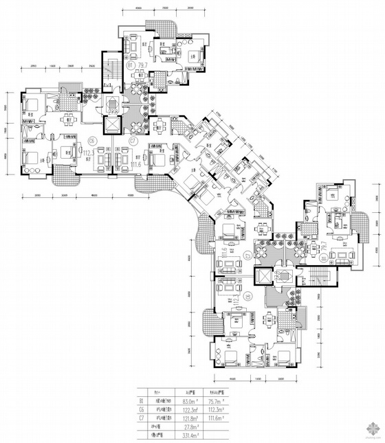 塔式高层一梯六户户型图(83/83/122/122/122/122)