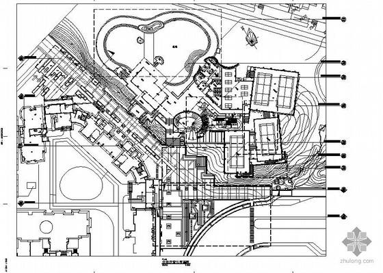 武汉小区会所区景观施工图全套