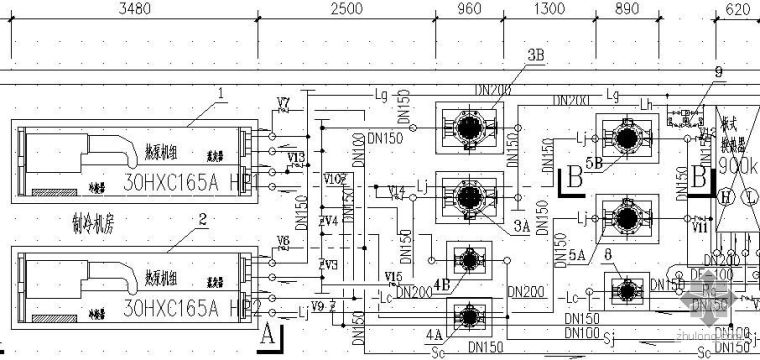 水源热泵机房图及系统控制图