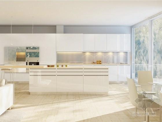 干净整洁开放式厨房3d模型下载