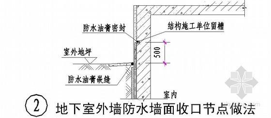 地下室外墙防水墙面收口节点做法详图