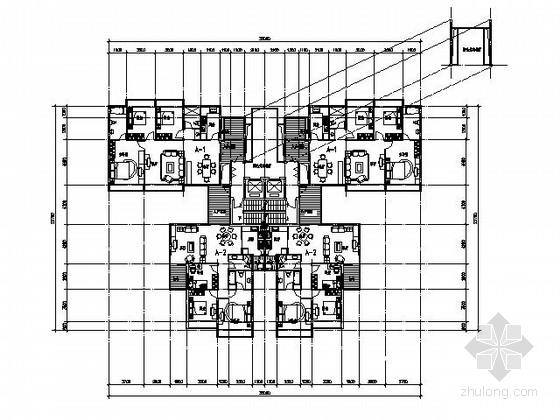 [经典]二梯四户高层住宅户型图(带入户花园,120平米)