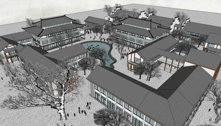 中式旅游民宿度假区建筑及规划设计模型