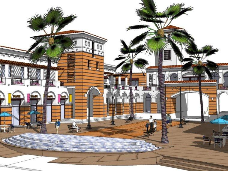 现代商业街两层资料下载-现代主义风格,2层su模型