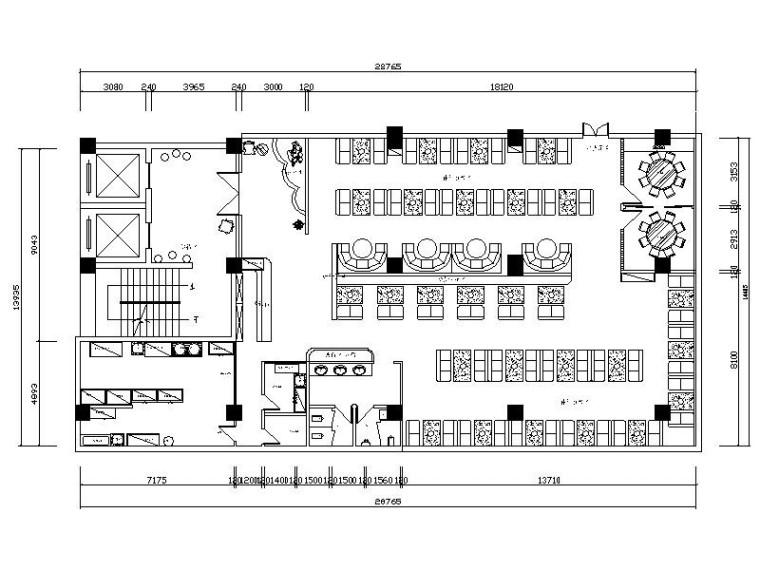 [成都]简约欧式连锁火锅店室内设计施工图(含效果图)