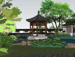 中式古建园林会所院落模型(su模型)