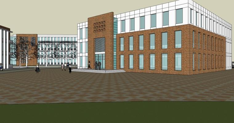 某现代风格中学建筑设计SU超精模型