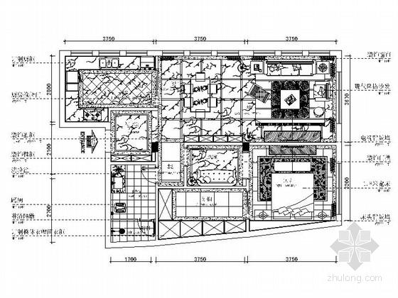 [重庆]恬静黑白灰200平现代风格三居室室内装修施工图(含效果)