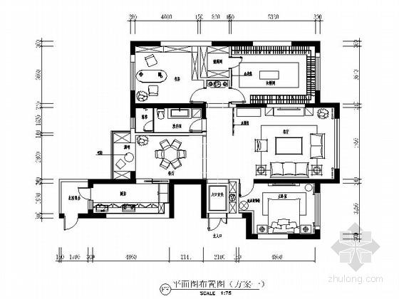 [大连]商住两用公寓区现代三居室装修施工图(含效果)