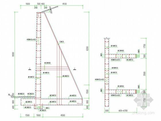 现浇钢筋混凝土扶壁式挡土墙设计图