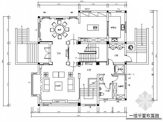 [常熟]500平美式古典风格三层独栋别墅样板间CAD装修施工图(含效果)